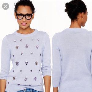 ❤️J.Crew Lilac Purple Wool Embellished Sweater S❤️